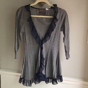 Anthropologie Guinevere Striped Ruffle Cardigan